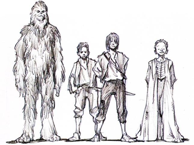 Young Han Solo e Chewbacca